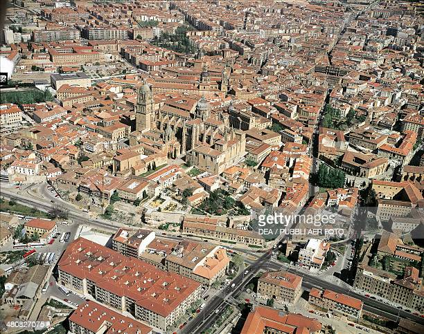 Aerial view of Salamanca with Cathedral and old town Castilla y Leon Spain