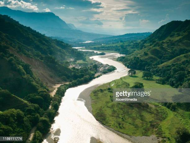 aerial view of salamina, caldas in the andes and the magdalena river - colombia stock pictures, royalty-free photos & images