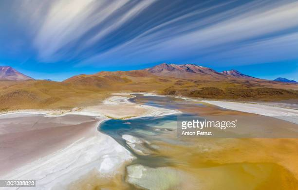 aerial view of salt lake laguna charcota, bolivia, altiplano - altiplano stock pictures, royalty-free photos & images