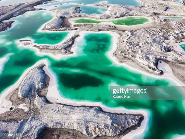 aerial view of salt lake landscape - natural landmark stock pictures, royalty-free photos & images