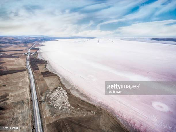aerial view of salt lake - great salt lake stock pictures, royalty-free photos & images