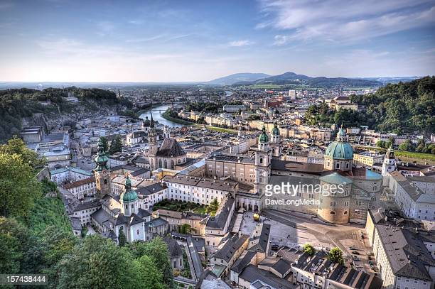 aerial view of salzburg austria with mountains in distance - salzburger land stock pictures, royalty-free photos & images