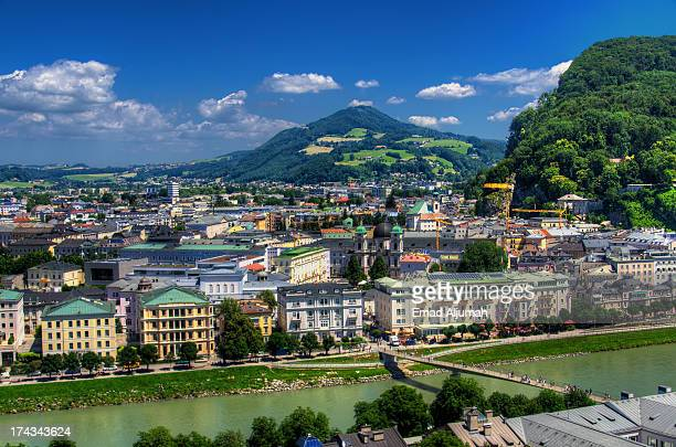 aerial view of salzburg - salzburger land stock pictures, royalty-free photos & images