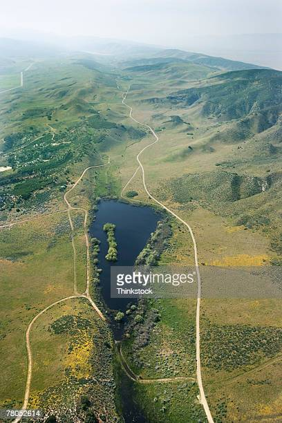 aerial view of san andreas fault, sleepy valley, california - san andreas fault stock pictures, royalty-free photos & images