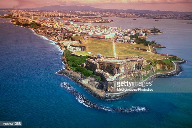 aerial view of san felipe fort in san juan, puerto rico - puerto rico stock pictures, royalty-free photos & images