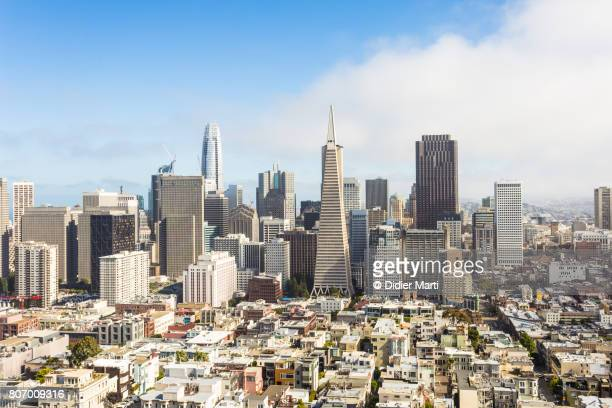 aerial view of san francisco financial district in california, usa - san francisco fotografías e imágenes de stock