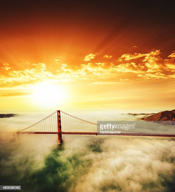 Aerial view of San Francisco Golden Gate Bridge