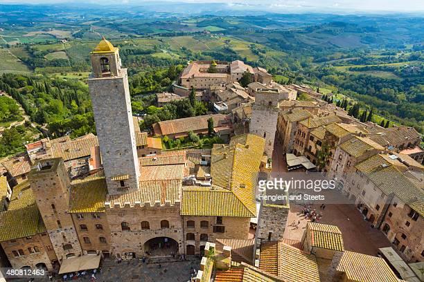 aerial view of san gimignano, tuscany, italy - サンジミニャーノ ストックフォトと画像