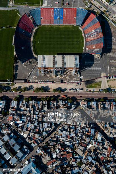 Aerial view of San Lorenzo de Almagro's Pedro Bidegain empty soccer stadium on March 27, 2020 in Buenos Aires, Argentina. National government has...