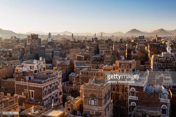 Aerial view of Sanaa skyline at sunrise, Yemen