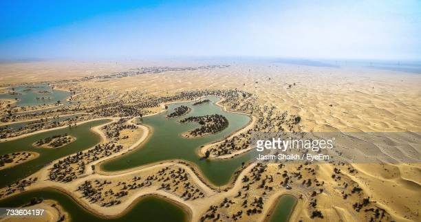 Aerial View Of Sand Dunes Against Clear Sky