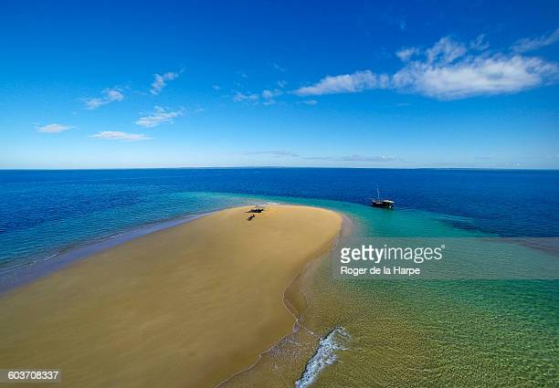 Aerial view of sandbar and dhow, Ibo Island, Mozambique