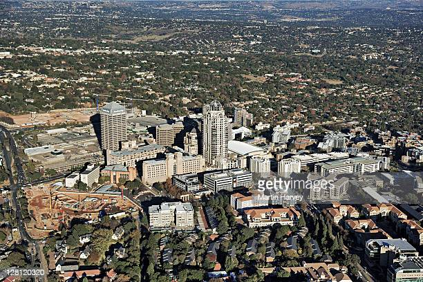 Aerial view of Sandton City and the construction site of the Sandton Gautrain station. Gauteng Province, South Africa.