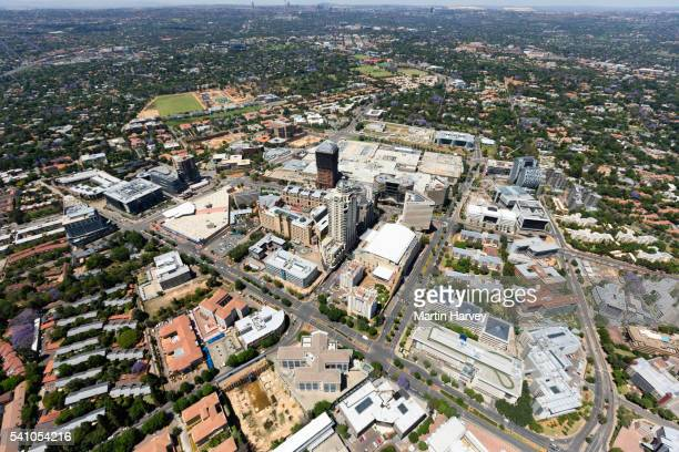aerial view of sandton high-rise buildings, johannesburg, south africa - sandton stock pictures, royalty-free photos & images