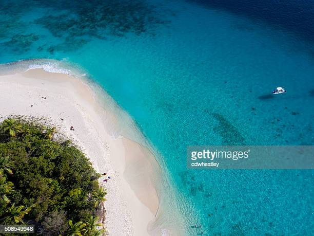 aerial view of sandy cay, british virgin islands - island stock pictures, royalty-free photos & images