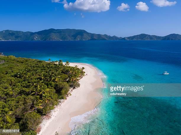 Vista aérea de Sandy Cay, Ilhas Virgens Britânicas