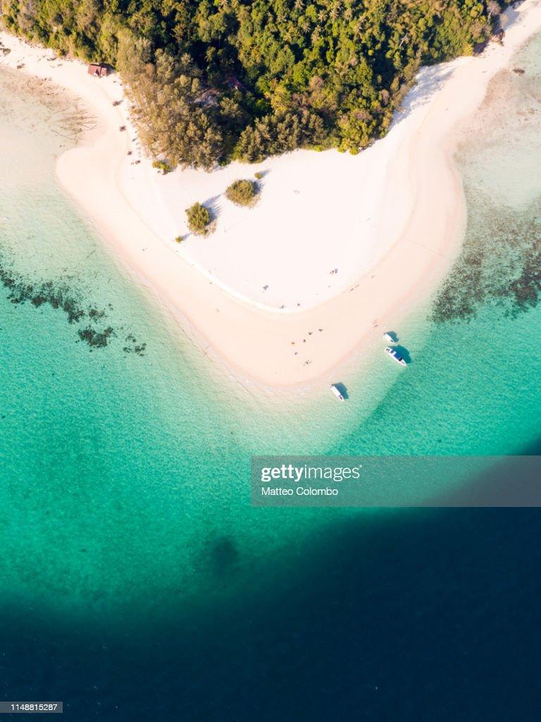 Aerial view of sandy tropical beach, bamboo island, Thailand : Photo