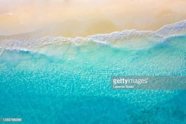 aerial view of sandy tropical beach in summer. aerial landscape of sandy beach and ocean with waves, view from drone or airplane. nature environment, peaceful bright zen, freedom scene - polinesia francesa fotografías e imágenes de stock