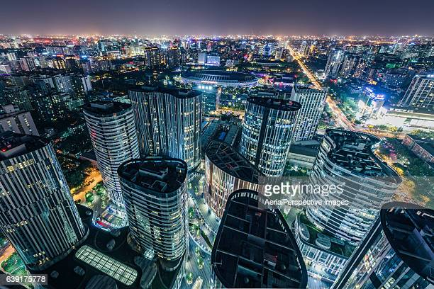 Aerial View of Sanlitun SOHO and Beijing City Urban Skyline at night