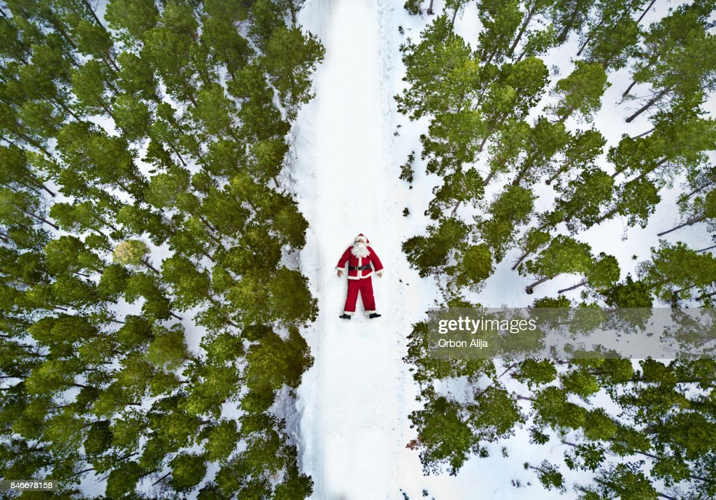 Aerial view of Santa Claus : Stock Photo