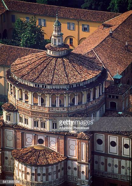 aerial view of santa maria delle grazie, milan - cupola foto e immagini stock