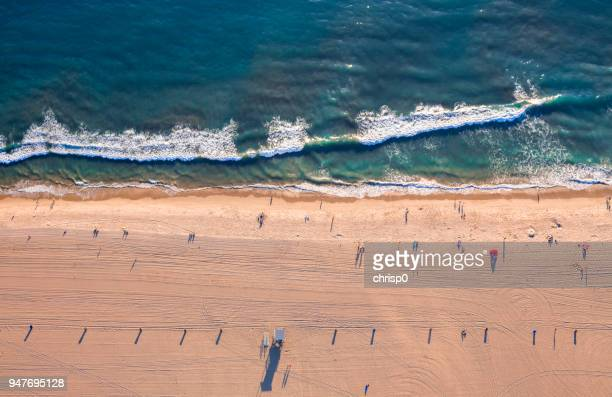 aerial view of santa monica beach - santa monica los angeles foto e immagini stock