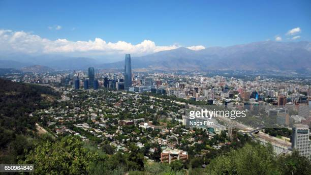 aerial view of santiago, chile. - santiago chile stock pictures, royalty-free photos & images
