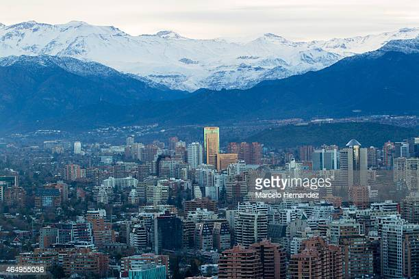 Aerial view of Santiago de Chile and the Andes on February 14 2015 in Santiago de Chile Chile Santiago will be one of the eight host cities of the...