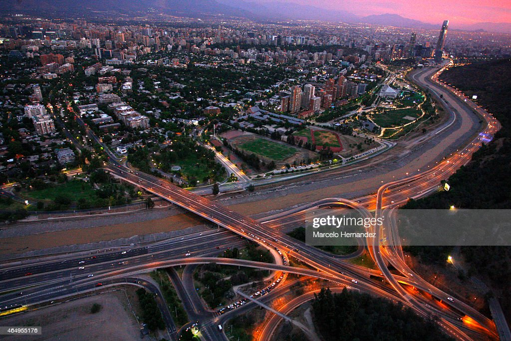 Aerial view of Santiago de Chile and the Mapocho River on February 14, 2015 in Santiago de Chile, Chile. Santiago will be one of the eight host cities of the next Copa America Chile 2015 from June 11th to July 04th.