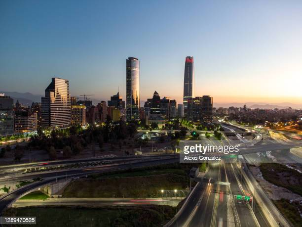aerial view of santiago de chile at sunset - santiago chile stock pictures, royalty-free photos & images