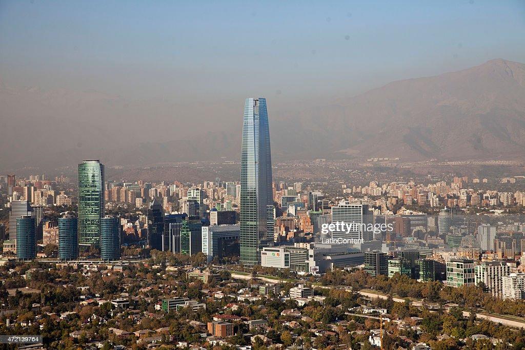 Aerial view of Santiago de Chile on April 23, 2015 in Santiago, Chile.