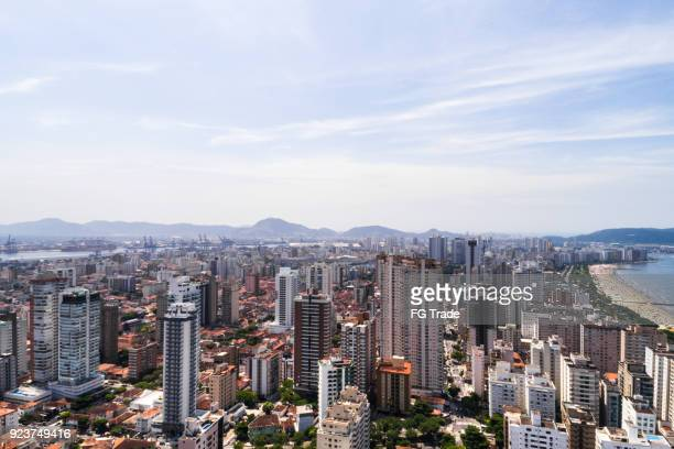 Aerial view of Santos in the state of Sao Paulo, Brazil