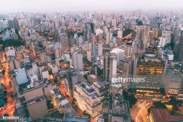 aerial view of sao paulo, brazil at night - são paulo stock pictures, royalty-free photos & images