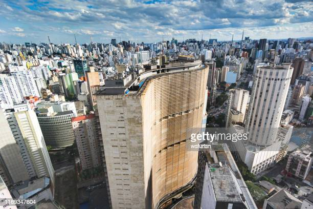 aerial view of sao paulo city - são paulo city stock pictures, royalty-free photos & images