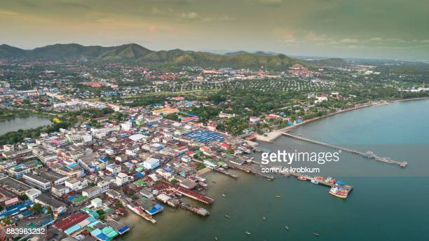 Aerial view of Sattaheep city;Chonburi,Thailand