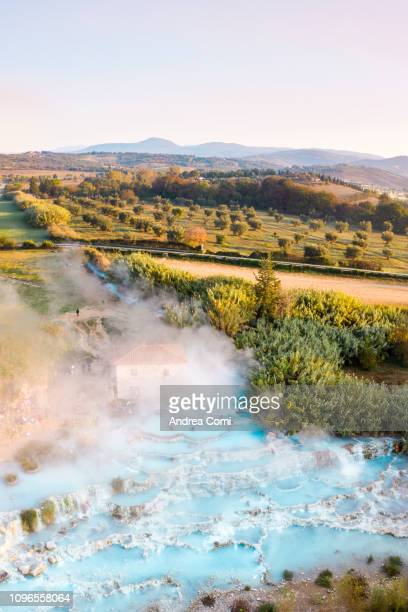 aerial view of saturnia's spring - grosseto province stock photos and pictures