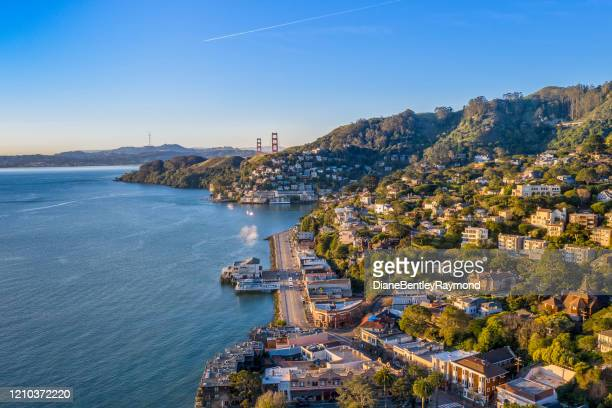 aerial view of sausalito with golden gate bridge - san francisco california stock pictures, royalty-free photos & images
