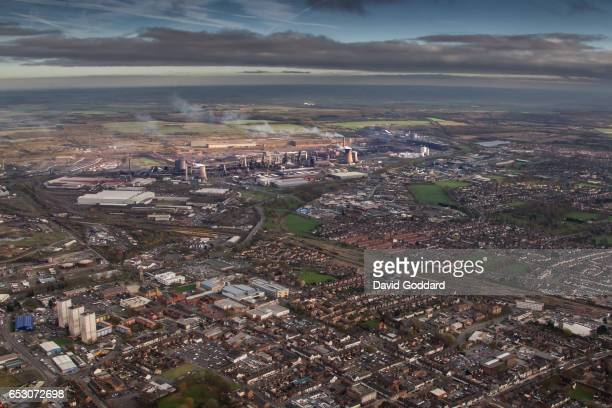 KINGDOM NOVEMBER 13 Aerial view of Scunthorpe and the Steel Works on November 13 2015 Twenty miles West of Grimsby on the eastern bank of the River...