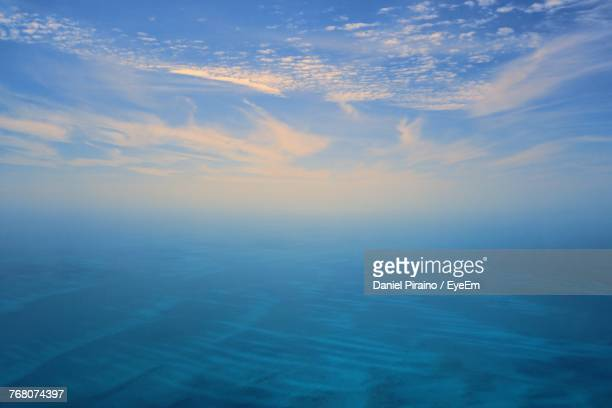 Aerial View Of Sea Against Sky At Sunset