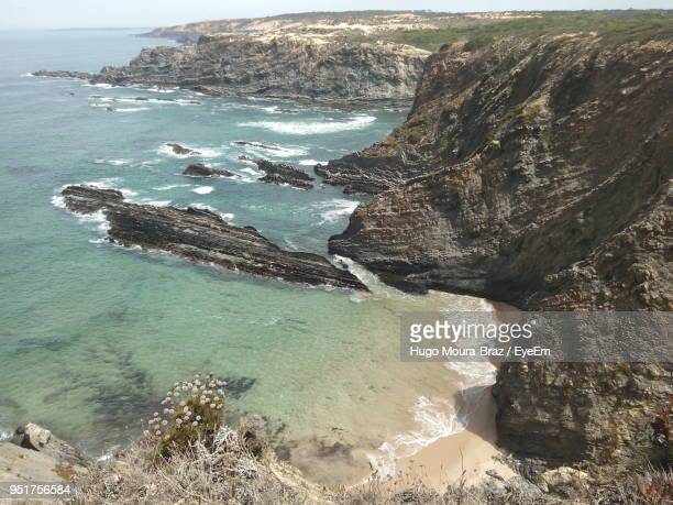 aerial view of sea against sky - moura stock photos and pictures