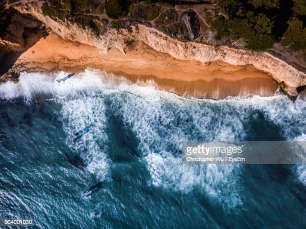 aerial view of sea and beach - coastline stock pictures, royalty-free photos & images