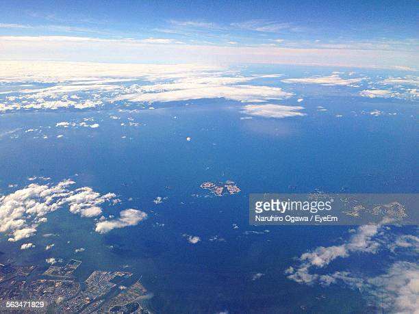 Aerial View Of Sea And Clouds Against Sky