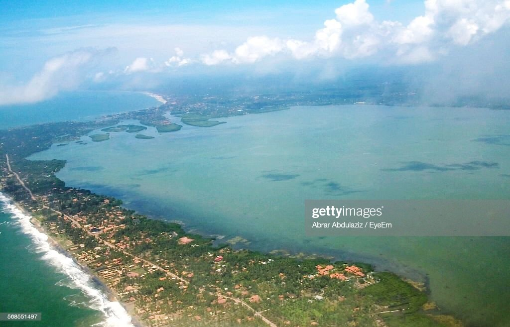 Aerial View Of Sea And Island Against Sky : Stock Photo