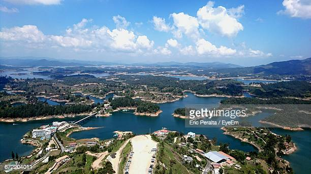 aerial view of sea and islands - guatapé stock pictures, royalty-free photos & images