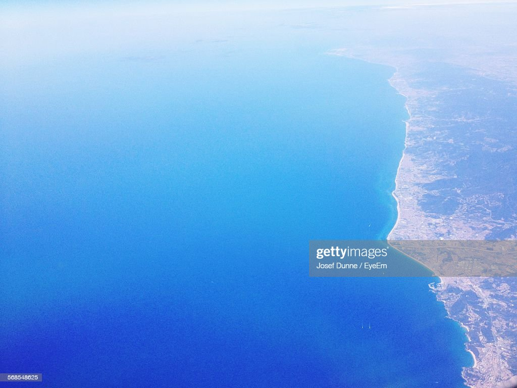 Aerial View Of Sea And Land : Stock Photo