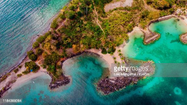 aerial view of sea and landscape - french overseas territory stock pictures, royalty-free photos & images