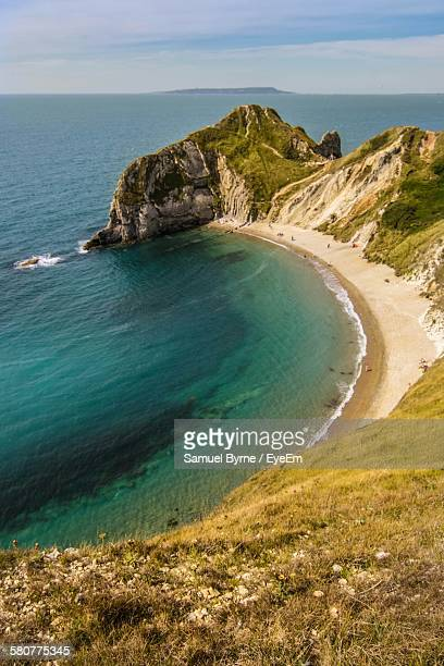 Aerial View Of Sea And Rock Formation At Durdle Door