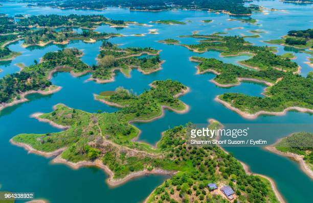 aerial view of sea and trees - bangladesh nature stock photos and pictures