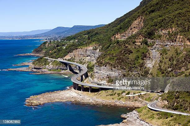 Aerial view of Sea Cliff Bridge, New South Wales, Australia