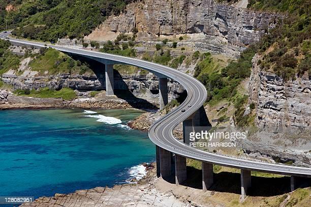 Aerial view of Sea Cliff Bridge, New South Wales, Australia